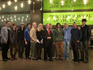 Mayor Bloomberg joins the cast of Glee to celebrate the final episodes of their second season. April 25, 2011 (Photo Credit: Spencer T Tucker)