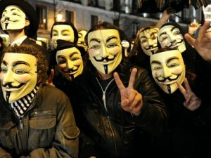 Members of the group Anonymous protest during Spain's film Goya Awards ceremony at Teatro Real in Madrid.11.