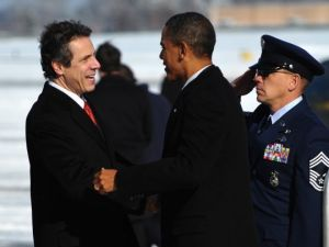 Gov. Andrew Cuomo greets President Barack Obama at Albany International Airport 2011.