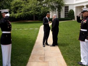 President Barack Obama talks with Prime Minister Benjamin Netanyahu of Israel as they walk from the Oval Office to the South Lawn Drive of the White House, following their meetings, May 20, 2011. (Official White House Photo by Pete Souza)