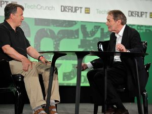 Paul Graham being interviewed by Charlie Rose at Disrupt