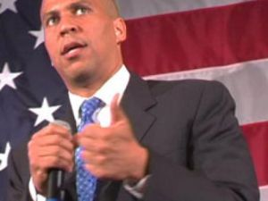 Mayor Cory Booker, sans cape and tights