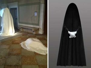 """(L) The censored works at the Biennale, (R) """"Waiting Bride"""""""