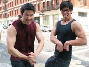 Fitocracy founders Brian Wang and Richard Talens, flexing at Betabeat's request.
