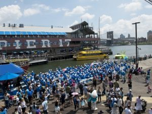 Global Smurfs Day celebration at the South Street Seaport in New York, by David Giesbrecht for Sony Pictures