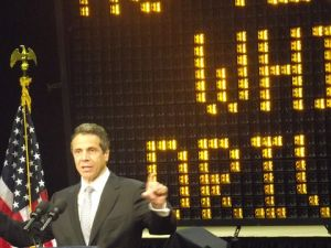 Governor Cuomo at the Jacob Javits Center, to sign a bill toughening penalties for distracted driving. (photo credit: azi paybarah / observer)