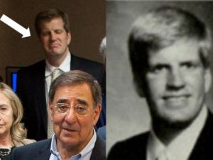 The Man in the Yellow Tie, with Clinton and Panetta, and in a college yearbook photo.