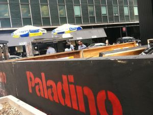 'Paladino' construction outside Governor Cuomo's midtown office. (photo credit: a reader)