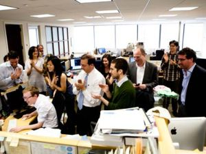 ProPublica staff celebrate winning the Pulitzer Prize for National Reporting. Credit: Dan Nguyen/ProPublica.