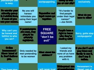 The pseudonymity debate as bingo, by geekfeminism.org.