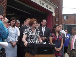 City Council Speaker Christine Quinn, in Bayside Queens, today. (photo credit: azi paybarah / observer)