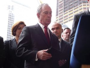 Council Speaker Quinn, Mayor Bloomberg and Police Commissioner Kelly. (photo credit: azi paybarah / observer)