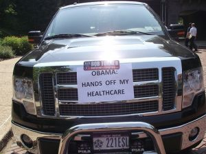 A supporter's truck parked near Bob Turner's kick-off campaign event. (photo credit: azi paybarah / observer)