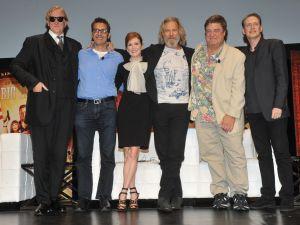 From left, T-Bone Burnett, John Turturro, Julianne Moore, Jeff Bridges, John Goodman and Steve Buscemi. (Diane Bondareff/AP Images for Universal Studios Home Entertainment).