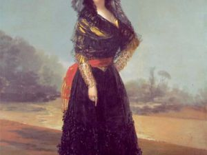"""Goya's """"Mourning Portrait of the Duchess of Alba,"""" which is sometimes referred to as """"The Black Duchess,"""" is on view in Washington Heights at the Hispanic Society of America."""