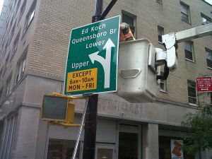 A new sign for the Ed Koch Bridge, at 56th Street and 1st Avenue in Manhattan. (sent by a reader)