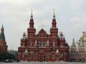 The State History Museum on Red Square in Moscow. (Photo By Ian Walton/Getty Images)