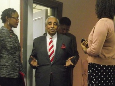 Rep. Charlie Rangel in Harlem this morning. (photo credit: azi paybarah / observer)