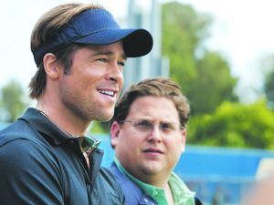 "Pitt and Hill in ""Moneyball"" (Photo: 2011 Columbia Tristar Marketing Group)"