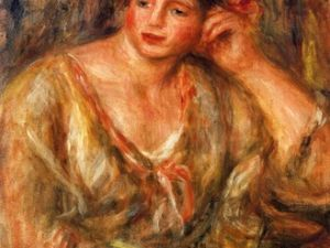 """Madeleine Leaning on Her Elbow with Flowers in Her Hair"" (1918) by Renoir."
