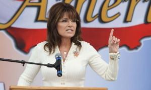 Sarah Palin rocks the mic in Indianola, Iowa.