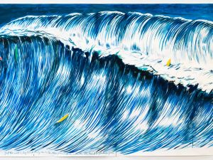 Raymond Pettibon's 'No Title (But the sand...)', made for the auction and expected to sell for between $300,000 and $500,000.