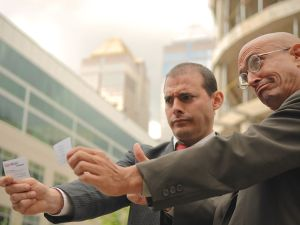 Yes Men Andy Bichlbaum and Mike Bonanno posing as ExxonMobil executives for a 2007 project. (Photo: The Yes Men)