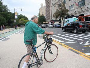 Chuck Schumer uses the bike lane, sort of. (Brooklyn Spoke