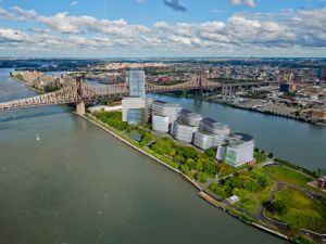 Aerial view of the proposal for StanfordNYC on Roosevelt Island