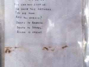 An anthrax-tainted letter sent to former Senate Majority Leader Tom Daschle in 2001. (Getty)