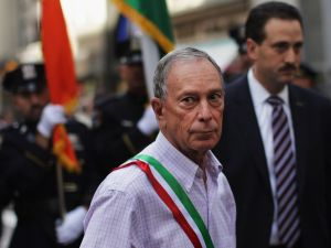 Mayor Bloomberg on the march in the Columbus Day Parade. (Getty)