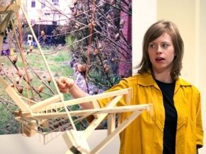 On episode two, Michelle crafted a wood-frame person, the testicles of which you can tug to give it a sculptural erection.