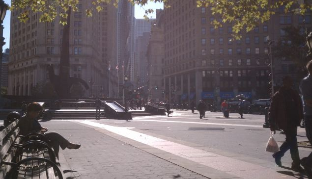 The calm before the march starting at Foley Square.