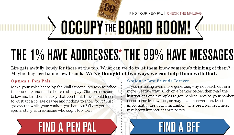 Talking to 'Occupy the Board Room': New Site Encourages Getting in Touch with the 1%, Legally