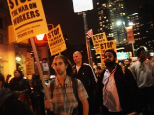 Occupy Wall Street protesters marching in Manhattan in October. (Photo: Getty)