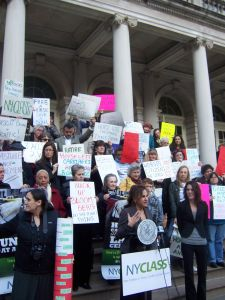 Actress Kathy Najimy spoke on the steps of City Hall at a New Yorkers for Clean, Livable & Safe Streets rally.