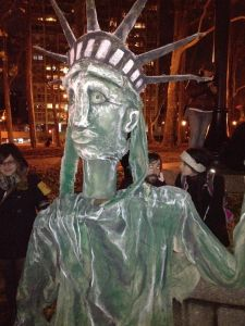 Protesters brought the statue of liberty with them to Brooklyn. (Photo: Emily Witt)
