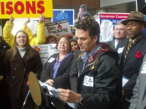 Mark Ruffalo makes his case against hydrofracking outside a hearing in Manhattan last week. (Photo: Hunter Walker)