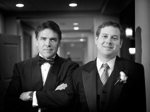 Governor Perry and his son at Griffin's wedding in December 2009. (Photo: DFW Events)