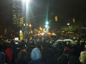 Protesters amassing on the pedestrian walkway at the base of the Brooklyn Bridge. (Photo: Hunter Walker)