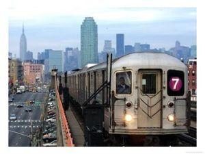 The 7 train riding through Queens.