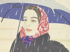 """""""Blue Umbrella"""" (1979-80) by Alex Katz, number 12 from an edition of 25, is estimated to sell for between $2,500 and $3,800."""