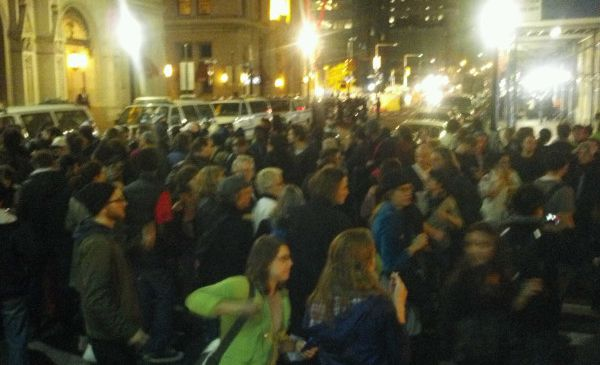 Crowd at barricade on Broadway and Pine