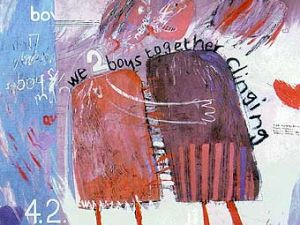 """""""We Two Boys Together Clinging"""" (1961) by David Hockney. (Courtesy the artist)"""