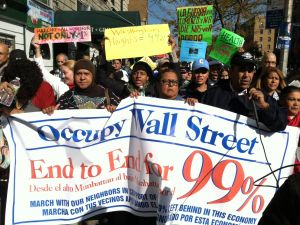 Occupy Wall Street solidarity marchers in Washington Heights. (Photo: Chasen Marshall)
