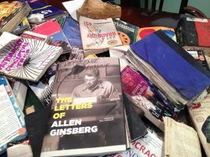 Books retrieved from the sanitation garage.
