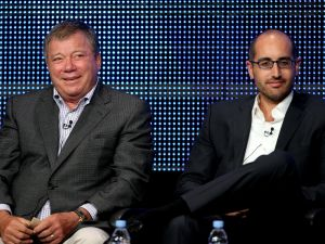 Justin Halpern, right, with William Shatner.