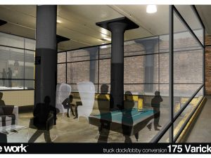 Rendering of the new office by WeWork architect Danny Orenstein.