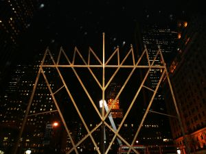 "A structure billed as the ""World's Largest Menorah"" by Jewish leaders stands at the corner of Fifth Avenue and 59th Street."