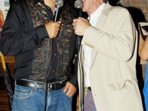 Silverberg, right, singing with Bob Morris in 2008.